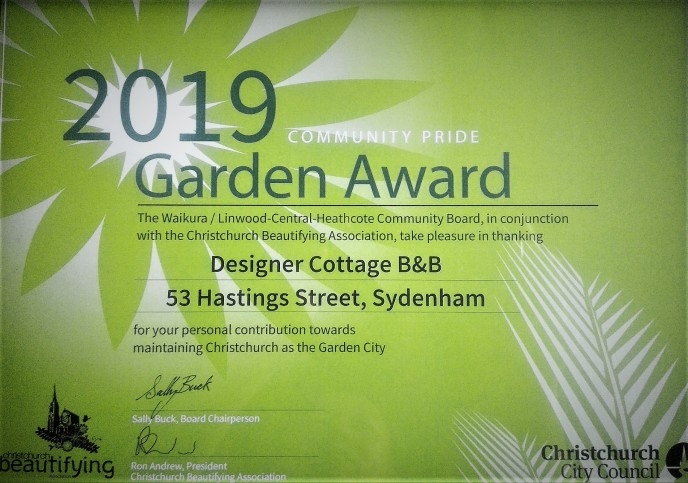 Christchurch B&B Designer Cottage Garden Award