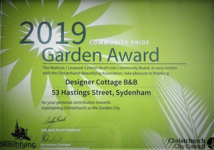 Christchurch B&B Designer Cottage Garden Award